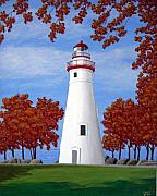 North American Lighthouses - Paintings By Frederic Kohli - Autumn at Marblehead by Frederic Kohli