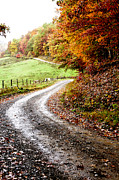 Twisting Framed Prints - Autumn Country Road Framed Print by Thomas R Fletcher