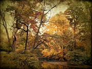 Autumn Landscape Digital Art Framed Prints - Autumn Creek Framed Print by Jessica Jenney