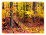Earth Tone Mixed Media Prints - Autumn footbridge Print by Gina Signore