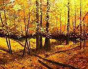 Autumn Trees Painting Prints - Autumns Hidden Sanctuary II Print by Connie Tom