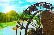 Machinery Photo Posters - Bamboo water wheel Poster by MotHaiBaPhoto Prints