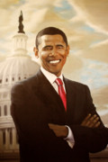 Barack Obama Painting Framed Prints - Barack Obama Framed Print by Frank Mwamba