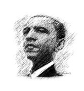Barack Obama Digital Art Framed Prints - Barack Obama Framed Print by John Travisano
