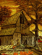 Old Barn Paintings - Barn and Wheelbarrow by Kenneth  LePoidevin