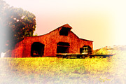 Tennessee Hay Bales Digital Art Prints - Barn in the Valley Print by Barry Jones