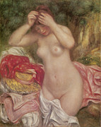 Bathing Paintings - Bather Arranging Her Hair by Pierre-Auguste Renoir