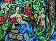 Fantasy Sea Pastels Prints - Bathers 98 Print by Bradley Bishko