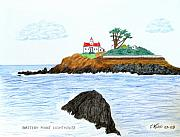 Colored Pencil Landscape Drawings Drawings - Battery Point Lighthouse by Frederic Kohli