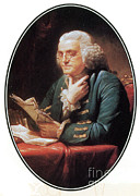 Political Illustration Framed Prints - Benjamin Franklin, American Polymath Framed Print by Photo Researchers