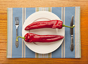 Table Cloth Metal Prints - 2 Big Red Peppers Metal Print by Igor Kislev