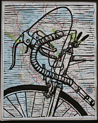 Lino Print Originals - Bike 2 On Map by William Cauthern