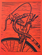 Lino Drawings Framed Prints - Bike 2 Framed Print by William Cauthern