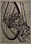 Lino Drawings - Bike 3 by William Cauthern