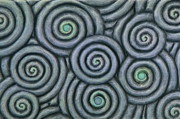 Vesery Sculpture Prints - Bleus En Spirale Print by Jacques Vesery