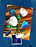 Home Decor Mixed Media - Blue and White Tulips by Sarah Loft