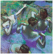 Ballerina Pastels Framed Prints - Blue Dancers Framed Print by Edgar Degas