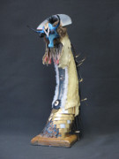 Creepy Mixed Media Originals - Blue Intruder by Elaine Booth-Kallweit