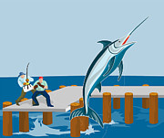 Pier Digital Art Prints - Blue Marlin Fish Jumping Retro Print by Aloysius Patrimonio