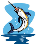 White Background Digital Art - Blue Marlin Jumping by Aloysius Patrimonio