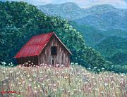 Smokey Mountains Pastels Framed Prints - Blue Ridge Barn Framed Print by Sandy Hemmer