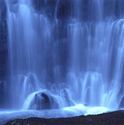 Moving Metal Prints - Blue waterfall Metal Print by Bernard Jaubert