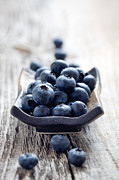 Wooden Bowl Prints - Blueberries Print by Kati Molin