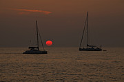 Sail Boat Photos - Boats In The Sunset by Joana Kruse
