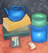 Teapot Paintings - Books and boxes by Patricia Cleasby