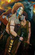 Briton Paintings - Boudica by RC Bailey