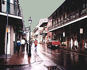 Bourbon Street After The Rain Print by Merton Allen