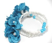 Blue Flowers Jewelry - Bracelet by Gorean Olga