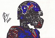 Player Drawings Posters - Brian Cushing Poster by Jeremiah Colley