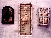 Bricks Sculpture Framed Prints - Bricks through windows Framed Print by Simon Currell