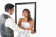 Man And Woman In Love Framed Prints - Bride and Groom Framed Print by Andre Babiak