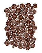 Circles Drawings Metal Prints - Brown Abstract Metal Print by Frank Tschakert
