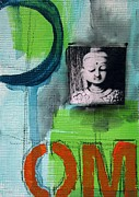 Green Mixed Media - Buddha by Linda Woods