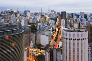 Office Space Metal Prints - Buildings of Downtown Sao Paulo Metal Print by Jeremy Woodhouse