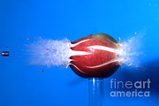 Hitting Prints - Bullet Hitting An Apple Print by Ted Kinsman