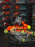 Bold Color Prints - Buoys and Crabpots on the Oregon Coast Print by Carol Leigh