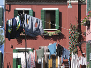Colored Facades Posters - Burano. Venice Poster by Bernard Jaubert