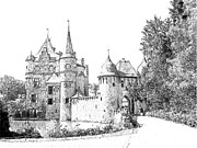 Europe Drawings - Burg Satzvey Germany by Joseph Hendrix