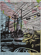 Linocut Linoluem Drawings Framed Prints - Burnet Road Framed Print by William Cauthern