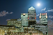 Canary Photos - Canary Wharf At Night by John Harper