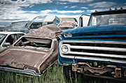 Rusted Cars Framed Prints - Car Scrapyard Framed Print by Dave & Les Jacobs