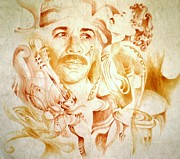 Carlos Santana Paintings - Carlos Santana by Jaabi Faarai