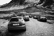 Glen Etive Prints - Cars Parked By Walkers On Rough Path At Glen Etive Glencoe Highlands Scotland Uk Print by Joe Fox