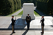 Headstone Prints - Changing Of Guard At Arlington National Print by Terry Moore