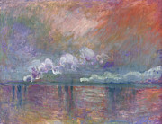 Steam Train Paintings - Charing Cross Bridge by Claude Monet