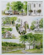 Historical Buildings Painting Posters - Cheraw Collage Poster by Gloria Turner